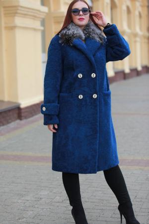 Меховое пальто из овчины керли с воротником из чернобурки